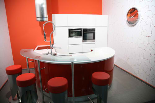 modern orange small kitchen design 19