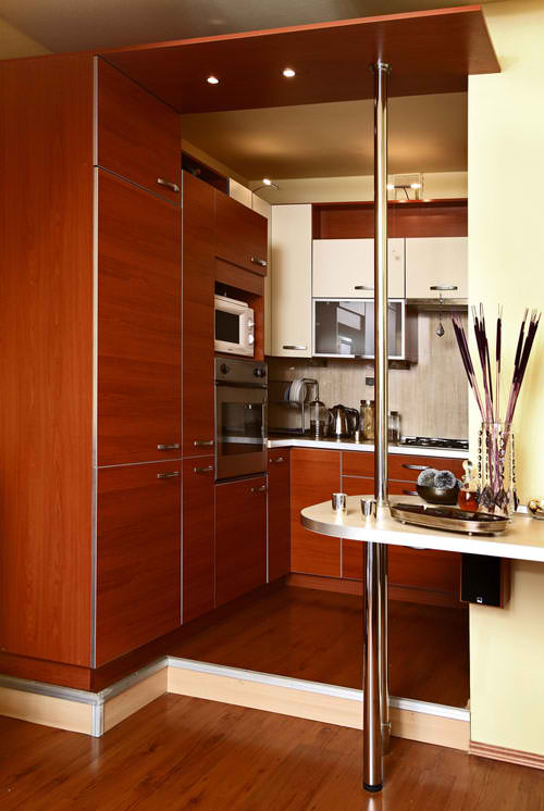 contemporary teak small kitchen design 21