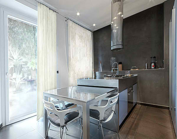 modern central small kitchen with table 25