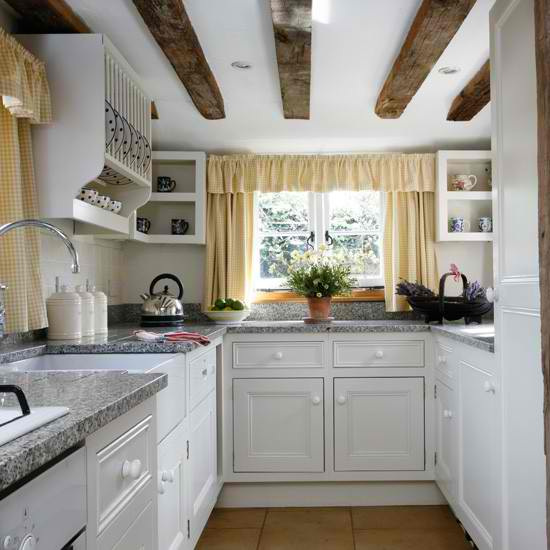 white country small kitchen with open shelving