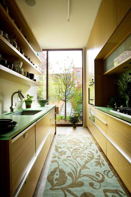 Small Kitchen With Bamboo Cabinets
