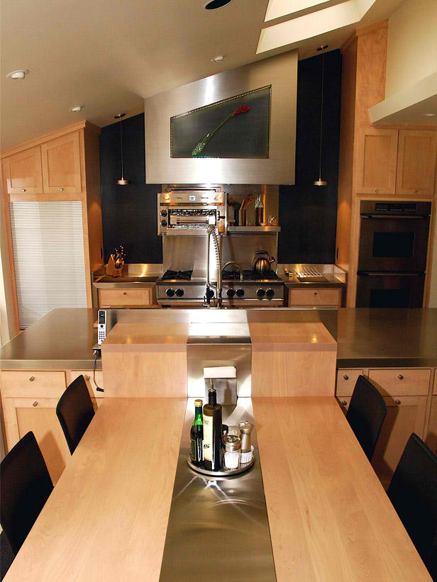 contemporary small kitchen design with table