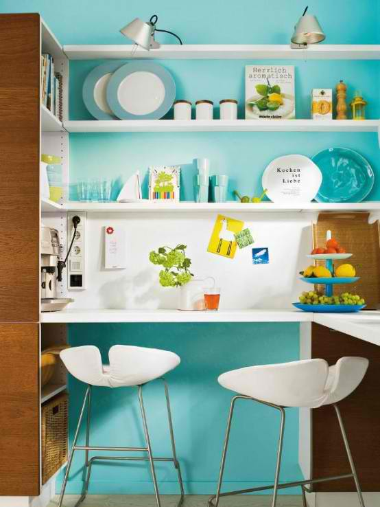 turquoise small kitchen design with kitchen stand bar