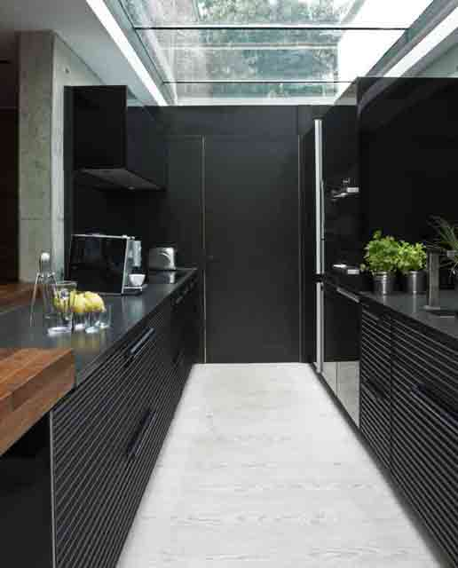 dark kitchen with glass ceiling