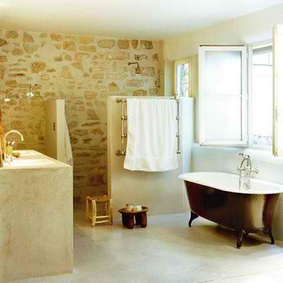 raw stone black with wood and free standing tub