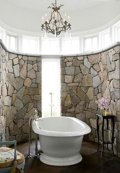 high ceiling stone bathroom design