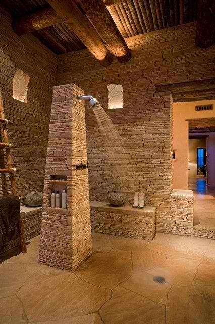 Charming Modern Natural Stone Bathroom