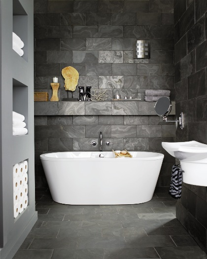 grey stone bathroom design