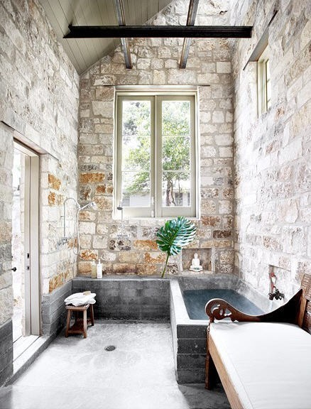 raw stone bathroom 18 design