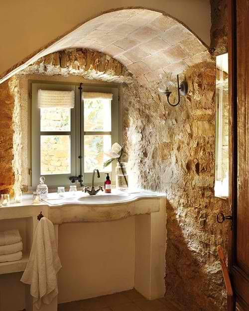 traditional bathroom design 25 with stone wall