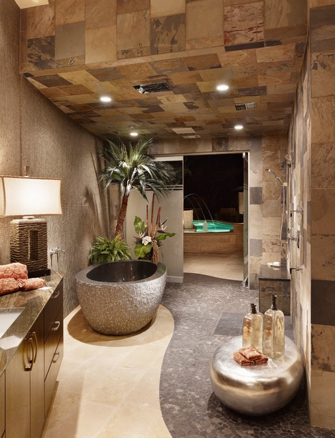 stone bathroom and grey bathtub 38 modern design