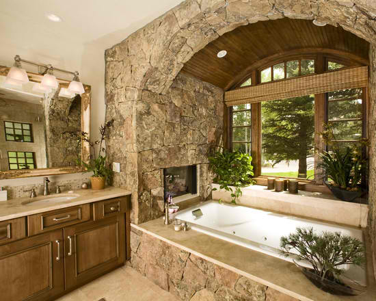 stone bathroom 39 design with large window and tv