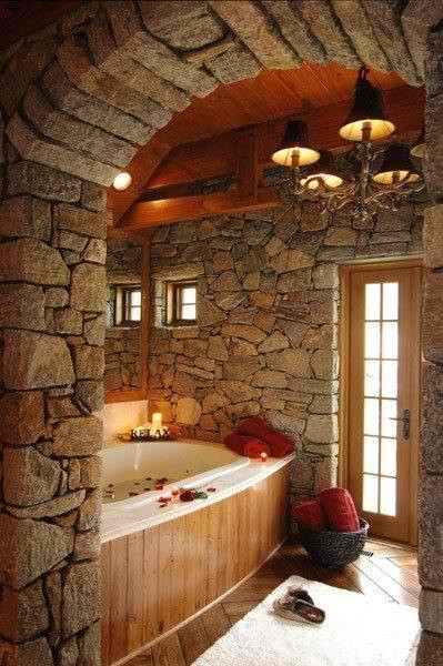 Raw Stone And Wood Bathroom Design