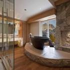 elegant stone bathroom 4 design with fireplace