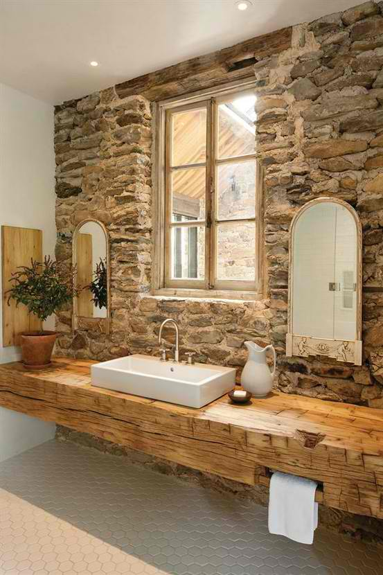 Genial Stone Bathroom Design 5 Design With Wood Sink Top