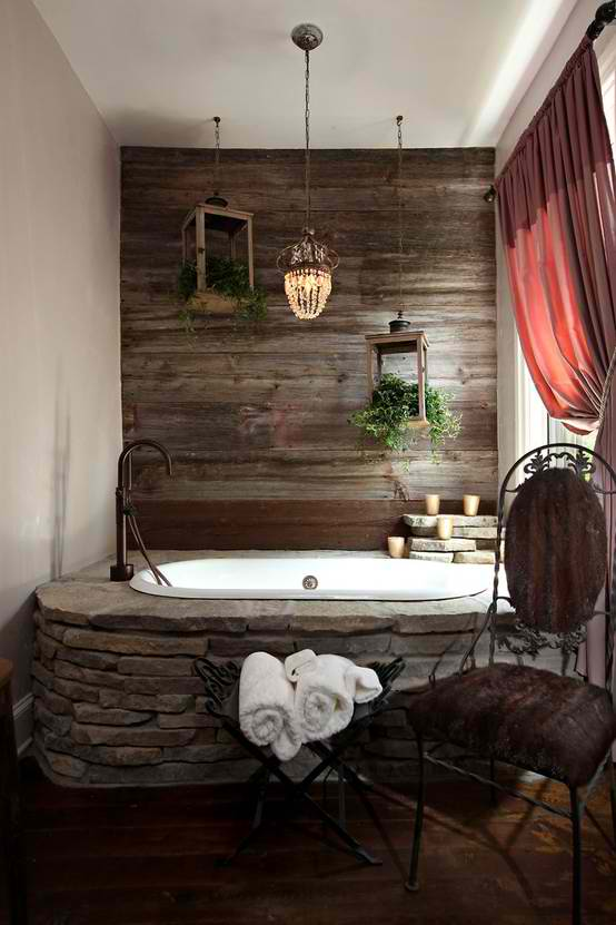 bathroom design with wood wall and stone bathtub