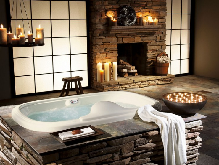 stone batrhroom design with fireplace