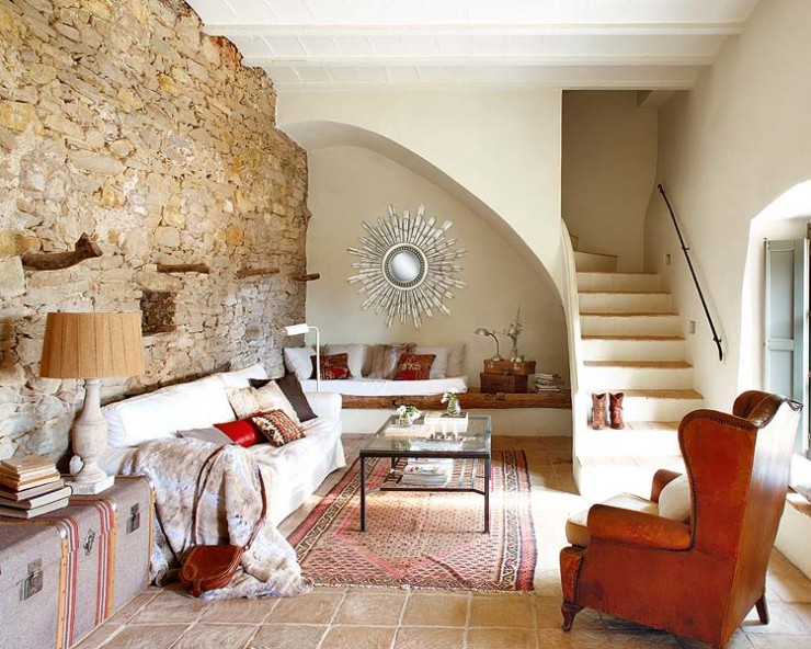 stone wall living room design ideas