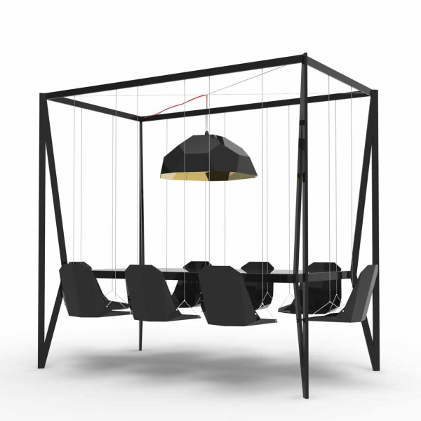black swing table by Duffy London