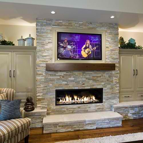 Gallery For Stone Fireplace With Tv Above Ideas