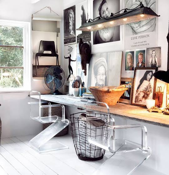 vintage modern home office design ideas