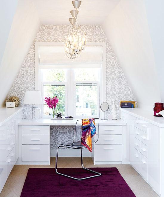 white feminine ikea home office idea