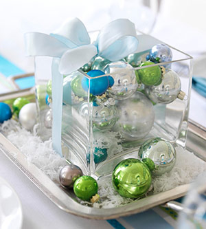 Christmas centerpiece by ornaments