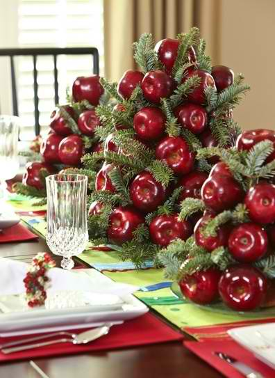 36 impressive christmas table centerpieces decoholic for Apples decoration