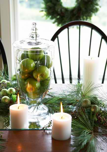 green apples tower Christma centerpieces