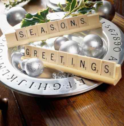 Christmas centerpiece Using Scrabble game tiles 12
