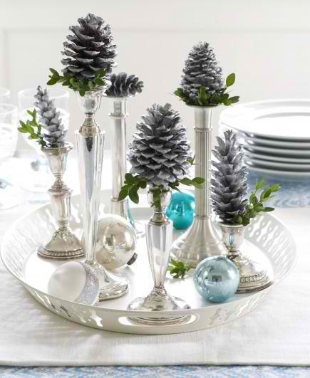 candlestick cones Christmas centerpices 17 ideas