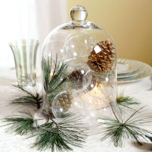 Christmas table centerpieces by pine cones