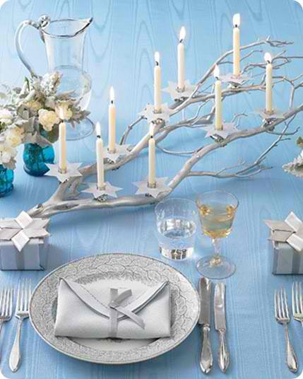 candles into silver branch Christmas centerpieces 21 ideas