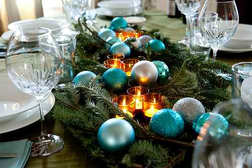 blue ornaments Christmas centerpieces 25