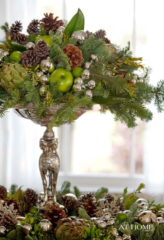 Christmas centerpieces by pine cones and apples 6