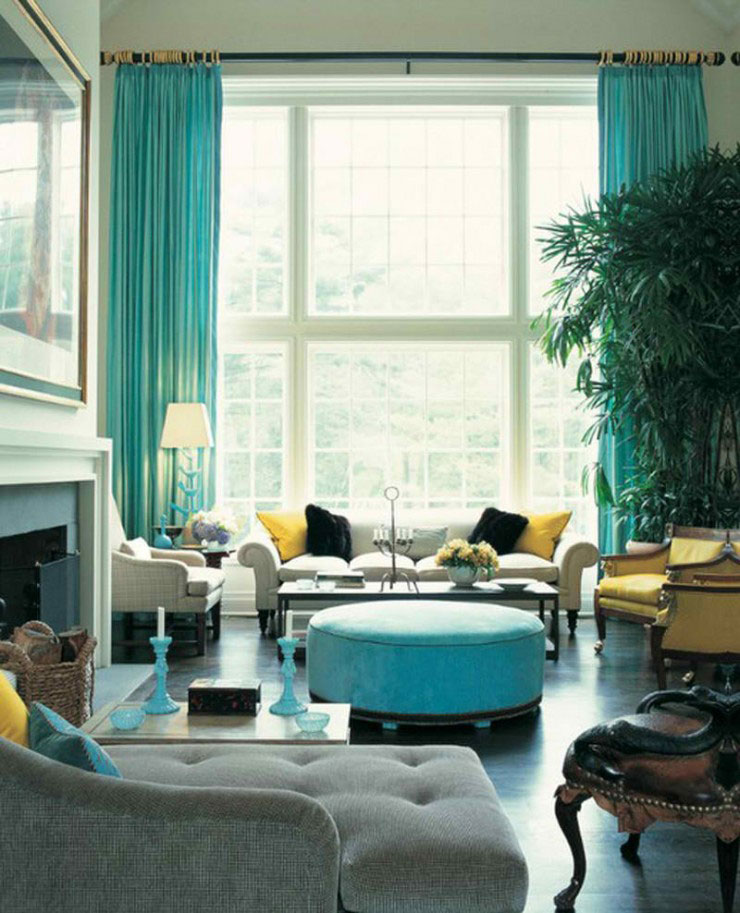 turquoise and yellow living room color scheme