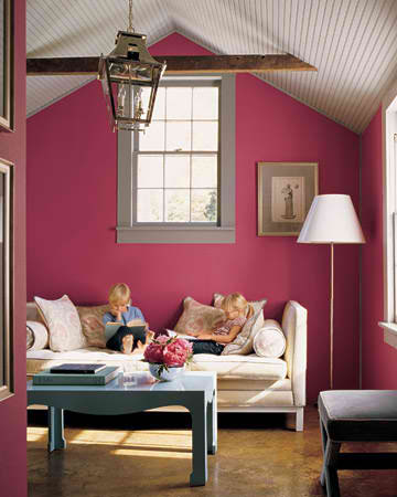 Vivid Pink Color Walls Living Room Ideas