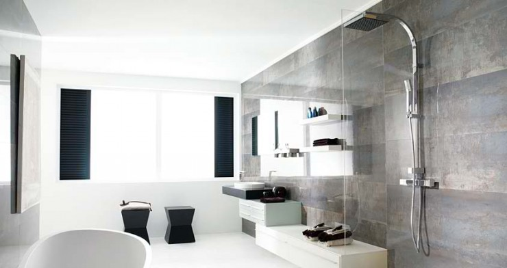 grey and white Contemporary Bathroom Design by Porcelanosa