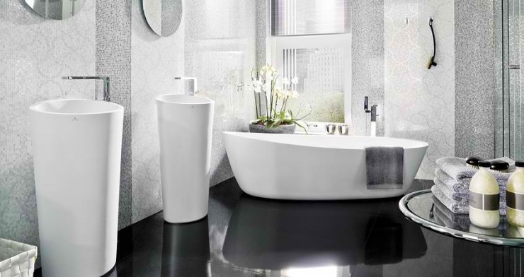 white with black floor Contemporary Bathroom Design by Porcelanosa