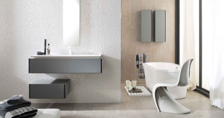 beige and white Contemporary Bathroom Design by Porcelanosa