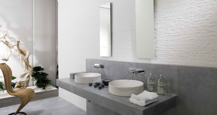 grey modern Contemporary Bathroom Design by Porcelanosa