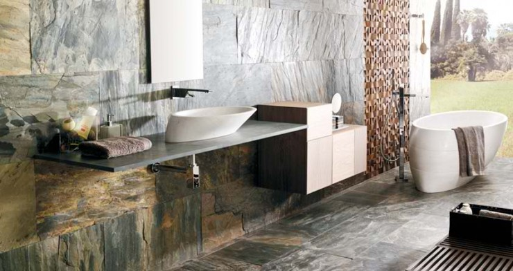 stone Contemporary Bathroom Design by Porcelanosa
