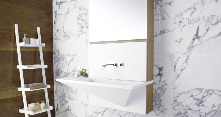 white marble Contemporary Bathroom Design by Porcelanosa