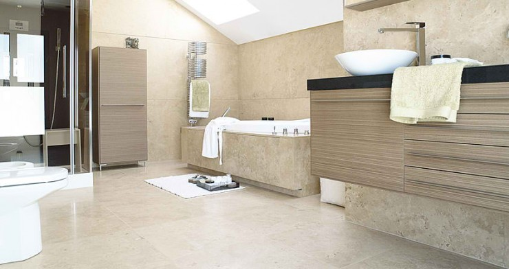 beige granite Contemporary Bathroom Design by Porcelanosa