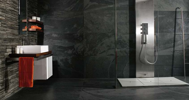 black Contemporary Bathroom Design by Porcelanosa