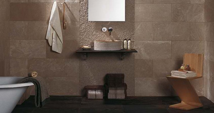 beige minimal Contemporary Bathroom Design by Porcelanosa
