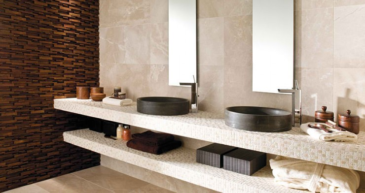 beige with black sink Contemporary Bathroom Design by Porcelanosa