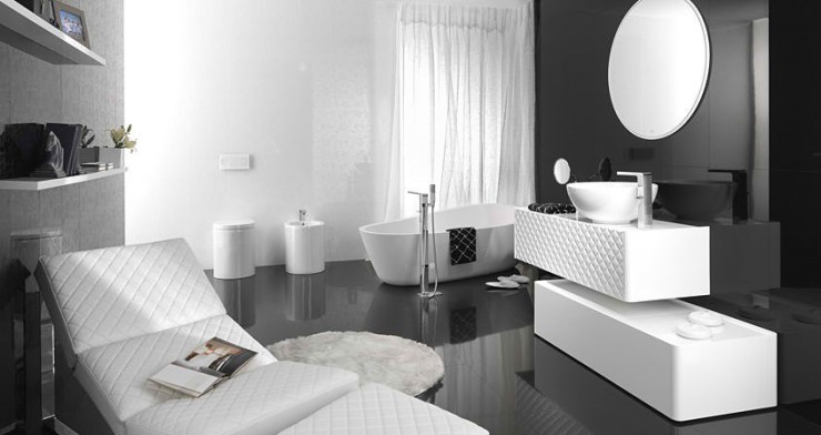 black and white with free standing buthtub Contemporary Bathroom Design by Porcelanosa