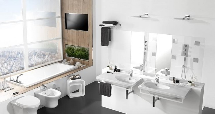 white and wood with plants and tv Contemporary Bathroom Design by Porcelanosa