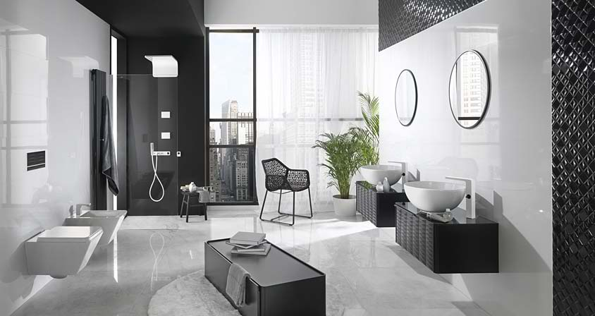 Black And White With Plants Contemporary Bathroom Design By Porcelanosa